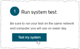 Run system test screen shot with button