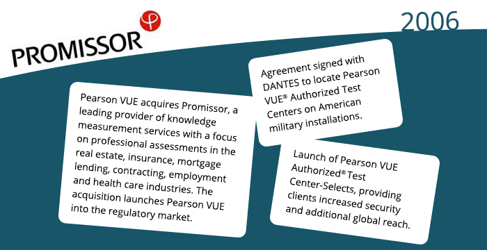 2006: Pearson VUE acquires Promissor, a leading provider of knowledge measurement services with a focus on professional assessments in the real estate, insurance, mortgage lending, contracting, employment and health care industries. The acquisition launches Pearson VUE into the regulatory market. Agreement signed with DANTES to locate Pearson VUE® Authorized Test Centers on American military installations. Launch of Pearson VUE Authorized® Test Center-Selects, providing clients increased security and additional global reach.