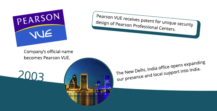 2003: Company's official name becomes Pearson VUE. Pearson VUE receives patent for unique security design of Pearson Professional Centers. The New Delhi, India, office opens expanding our presence and local support into India.